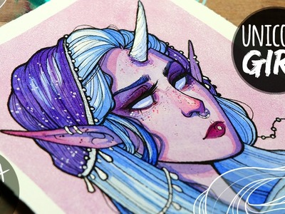 Unicorn Girl ♦ Metallic Watercolor Painting ♦ Art Chat