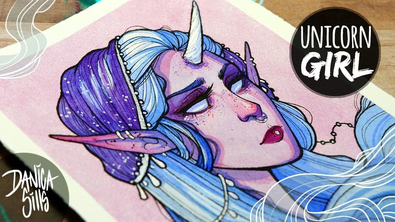 Unicorn Girl ♦ Metallic Watercolor Painting ♦ Art Chat