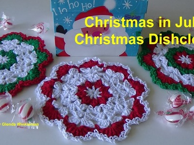 Christmas in July - Crocheted Christmas Dishcloth - Gift ideas