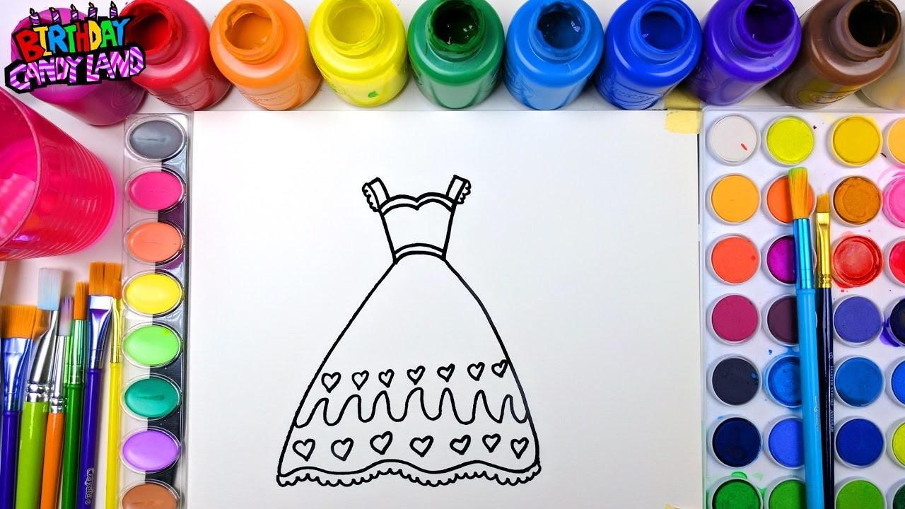 Coloring Page for Kids to Learn Colors and Color Beautiful Gold Dress