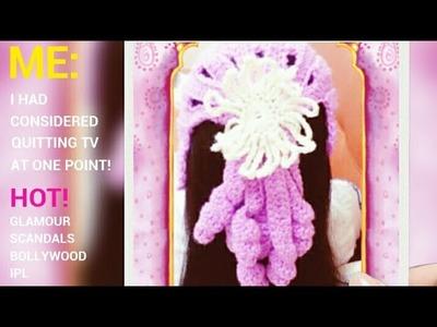 Crochet ponytail girl's hat (B)