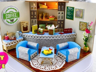 "DIY Miniature Dollhouse With Working Lights ""Sparkle Cafe"""
