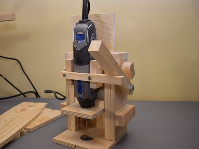 Homemade Mini Drill Press, Router base, Router table, Drum sander (in one tool), Part 1