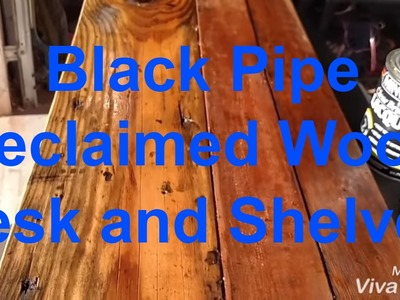 How to build a black pipe reclaimed wood industrial desk with shelves DIY