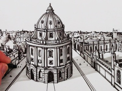How to Draw 1-Point Perspective: The Radcliffe Camera: Oxford
