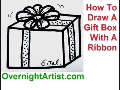 How To Draw A Gift Box With A Ribbon - Draw Christmas Present Box