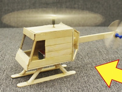 How to Make a Helicopter with Popsicle Sticks and Motor - DIY Craft - Creative with Ice-cream Stick