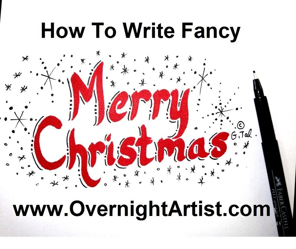 Merry Christmas Writing.How To Write Merry Christmas Calligraphy Style