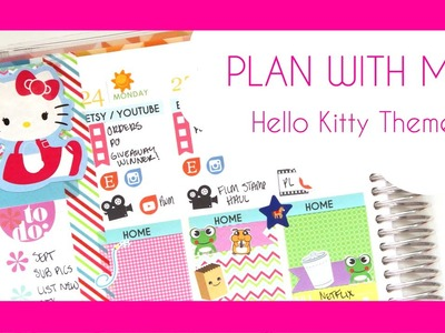 Plan With Me. Hello Kitty Theme Weekly Spread. 8-24-15