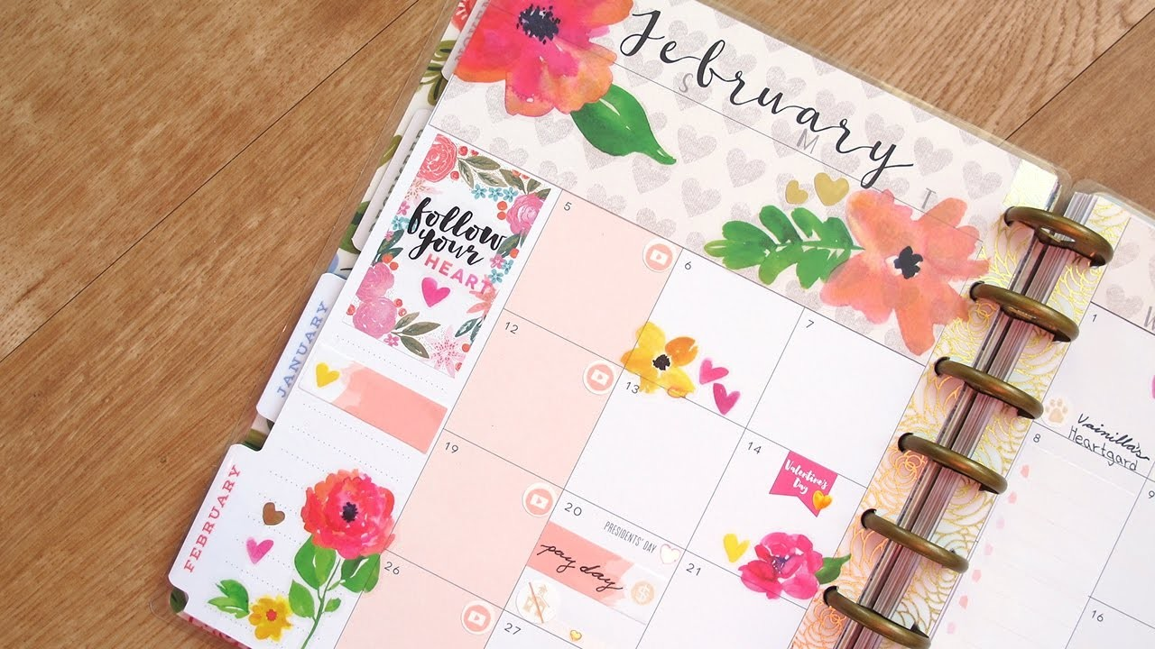 Plan With Me Monthly - February: Valentine's Spread | The Happy Planner 2017