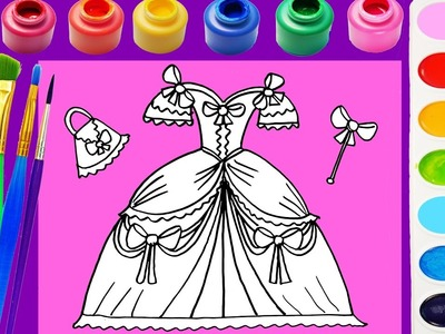 Princess Dress Coloring Page for Kids to Learn Colors for Children