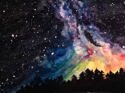 Speed Painting   Stargazing   Watercolor Galaxy