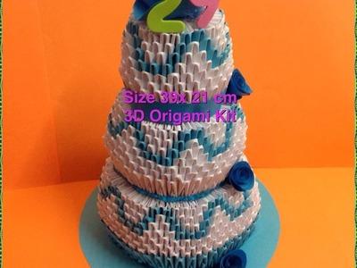 3D Origami Birthday Cake (Tutorial)