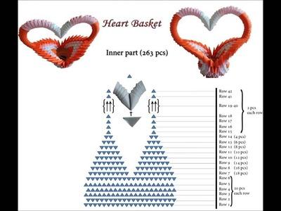 3D origami heart basket schematics