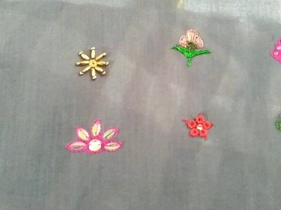 Aari work- Different Booti design for Dupatta or Saree