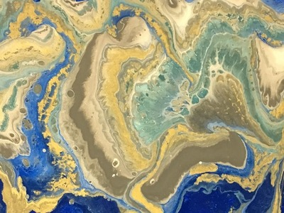 Acrylic Dirty Pour Fluid Painting: Dark Blue, Gold, White, Gray, and Sea Green
