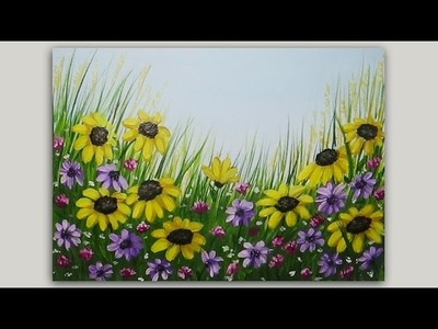 Acrylic Painting Black Eyed Susans Floral Painting Time Lapse Speed painting
