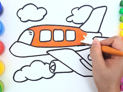 Coloring Pages for Kids to learn colors w Airplane - How to draw Plane for Kids