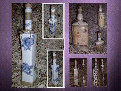 Decoupage - decorate glass bottle TUTORIAL