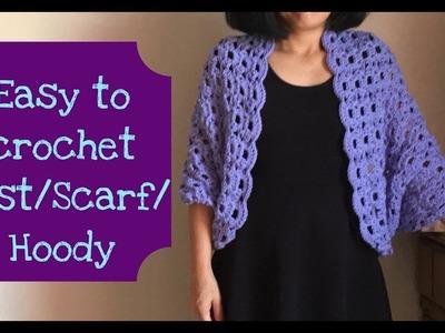 Easy to crochet Vest.Scarf.Hoody