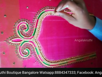 #Embroidery Thread work Blouse designs by Angalakruthi boutique Bangalore