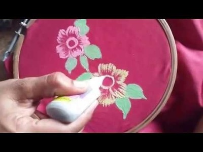 Fabric painting # 04,how to do free hand fabric painting on sarees l easy acrylic painting on fabric
