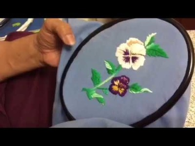 Hand Embroidery designs pansy flower