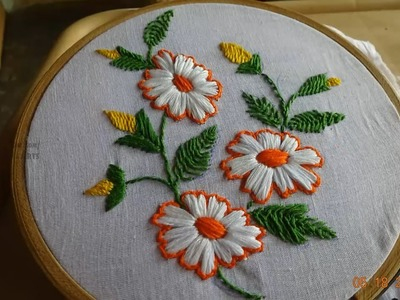 Hand Embroidery Flower Design Satin Stitch by Amma Arts