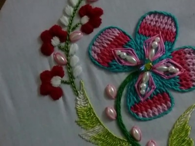 Hand embroidery for beginners. Beautiful  flower design . cylon stitch.