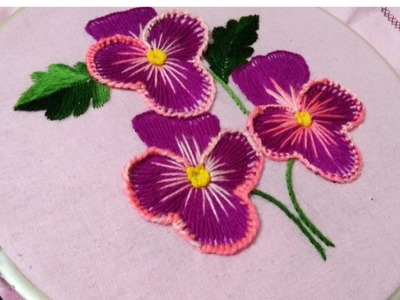 Hand embroidery pansy flower with botton hole stitch derivative