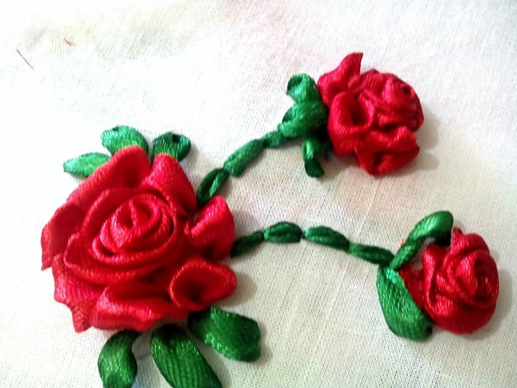 Hand embroidery ribbon rose flowers