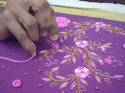 How to do a spring knot embroidery slow motion video