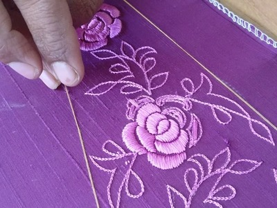 How to do satin stitch  hand embroidery