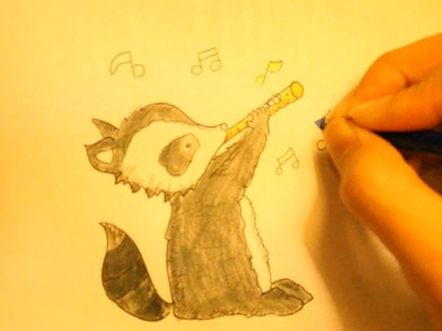 How To Draw Cartoon Animals Step By Step Raccoon-Easy And For for Beginners (Cute)