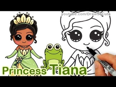 How to Draw Disney Princess Tiana Cute step by step 'The Princess and the Frog'