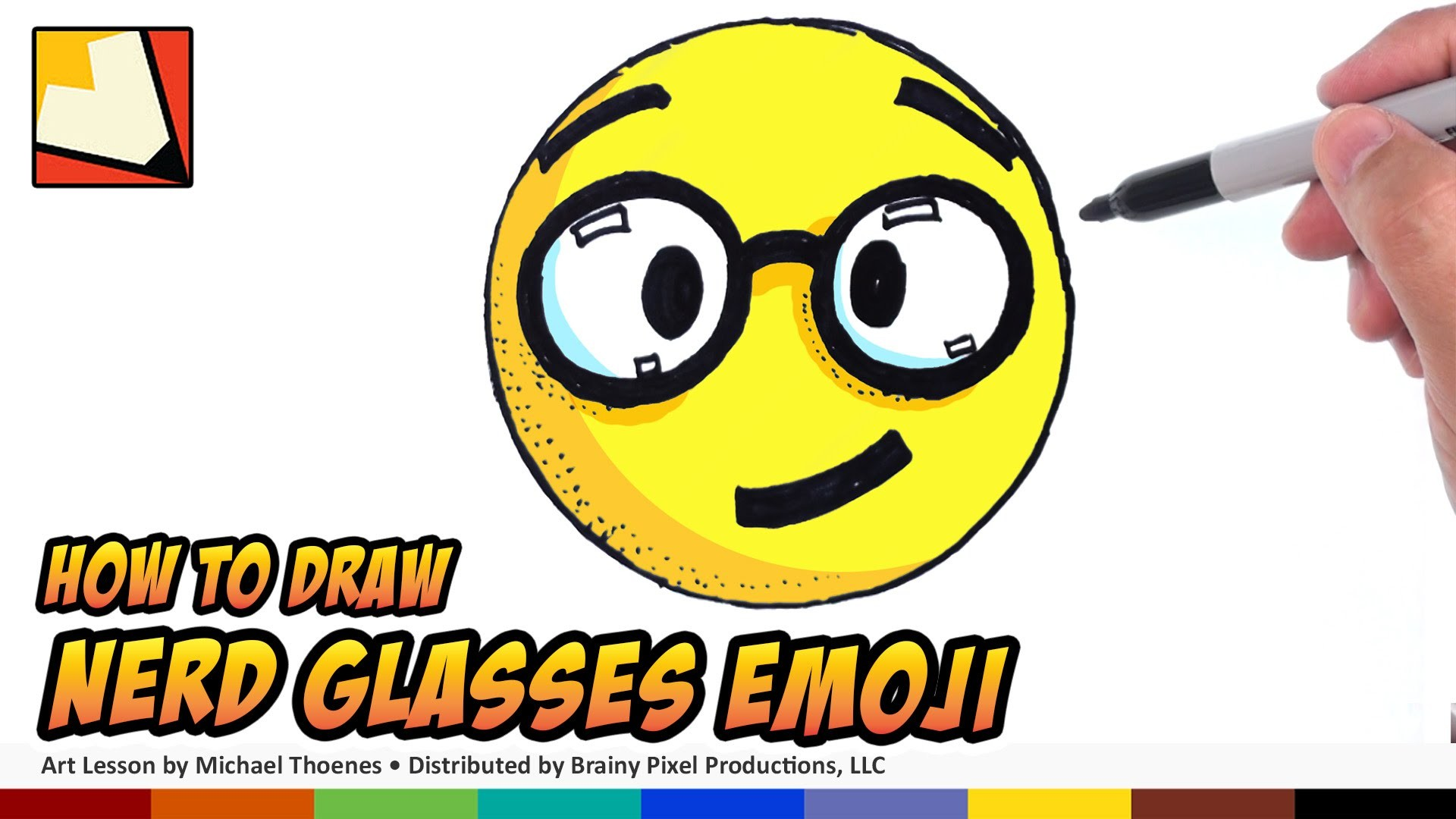 How to Draw Emojis - Nerd With Glasses Emoji - Step by Step for Beginners | BP