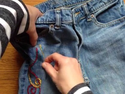 How to Embroider a Chain Stitch on Jeans