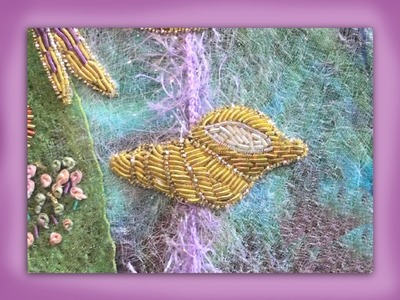 How to embroider a goldwork seashell