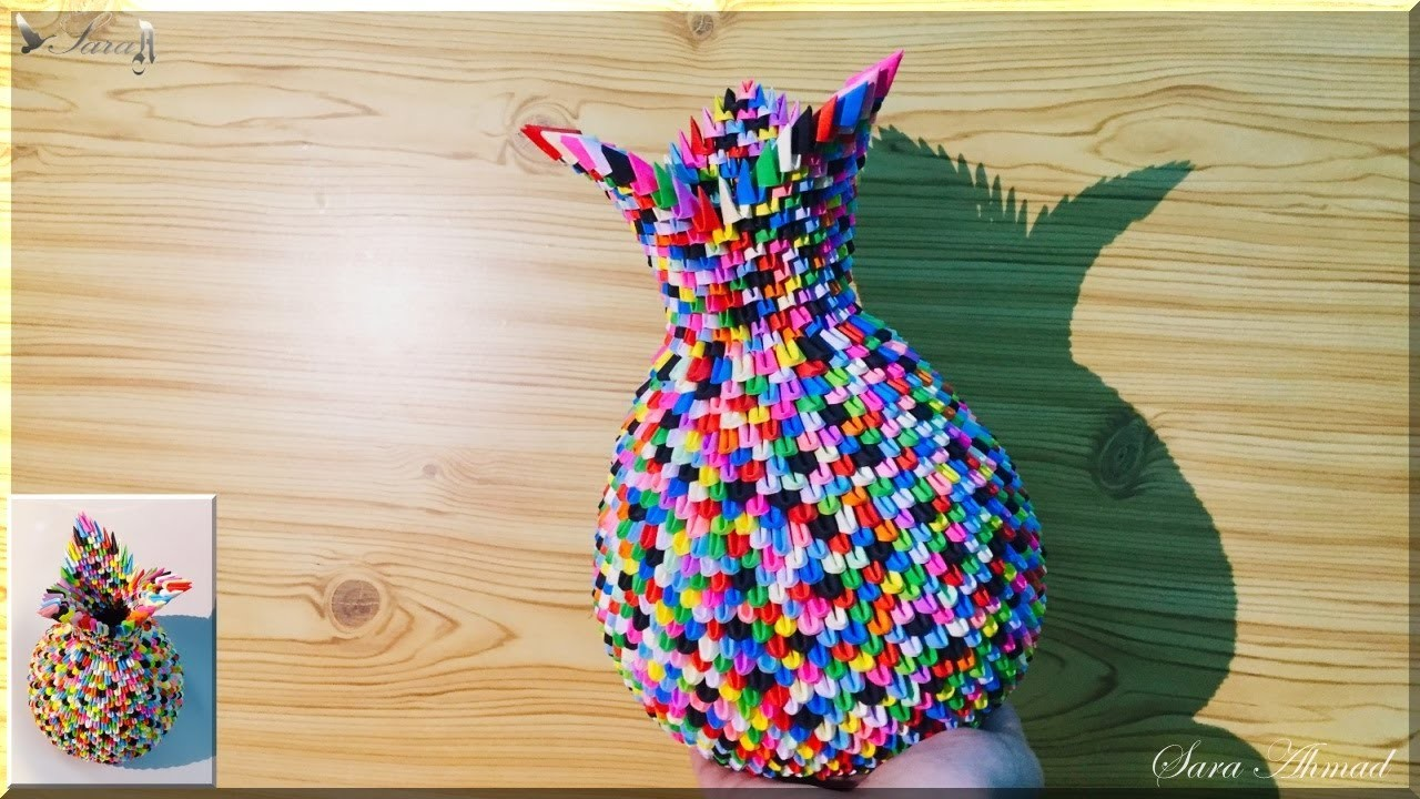 How To Make 3d Origami Vase 37