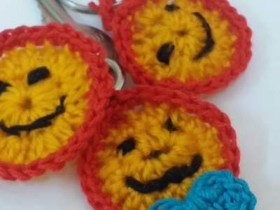 How to make a crochet Emoji Key Ring