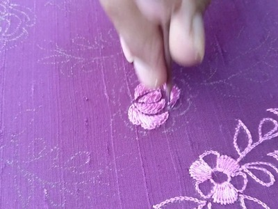 How to make a rose flower using long and short satin stitch embroidery