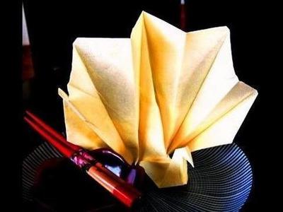 How to make an Origami Napkin Peacock (pavão de origami)
