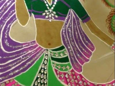 How to make rangoli of dancing Radha