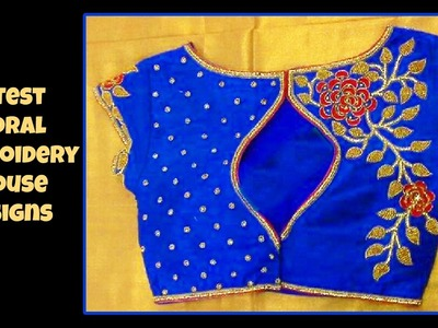 Latest Floral Embroidery Blouse Designs 2017