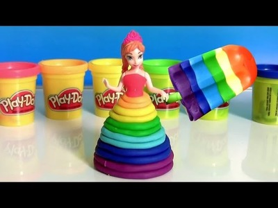 Learn Colors of Rainbow with Bathtub Fingerpaint and Play Doh Scoops 'n Treats Rainbow Popsicles