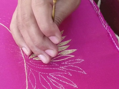 Lotus design embroidery with Jeri thread