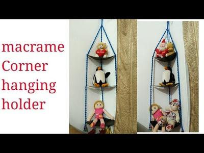 Macrame corner hanging holder