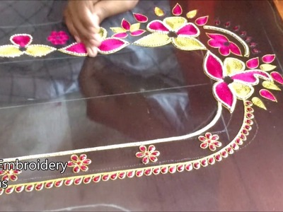 Maggam work blouse designs easy | hand embroidery designs | hand embroidery designs for beginners