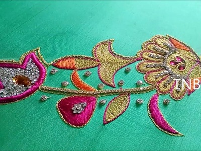 Maggam work blouse designs simple | hand embroidery tutorial for beginners | hand embroidery designs
