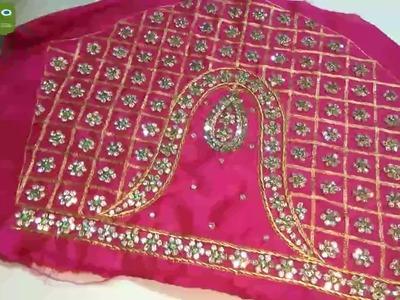 Maggam work neck line || zardosi work for beginners||aari work blouse designs